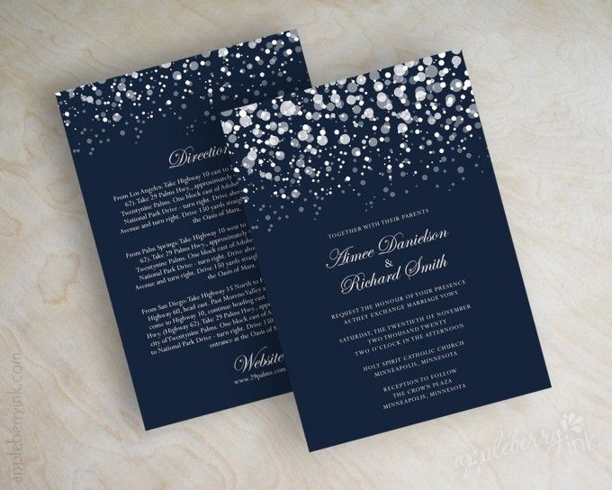 navy blue glitter wedding invitations httpemmalinebridecominvites - Weddings Invitations