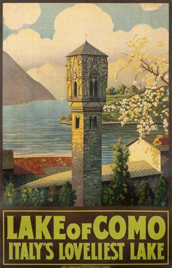Vintage Travel Poster - Lake of Como - Italy's Loveliest Lake - by Mattoni - c1920.