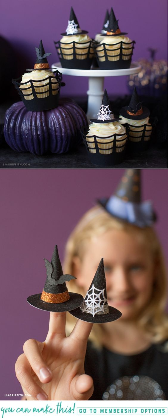 Mini Witch Hat Cupcake Toppers - Lia Griffith - www.liagriffith.com #diyhalloween #cupcaketopper #cupcaketoppers #papercraft #papercrafts #madewithlia