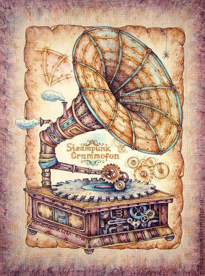 """Фантазийные сюжеты ручной работы. Картина в раме """"Стимпанк-граммофон"""" ретро…"""