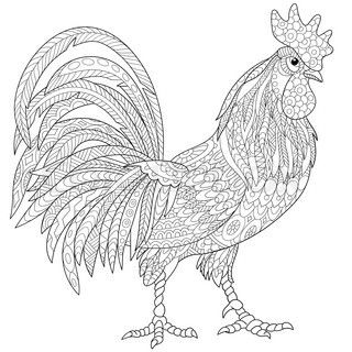 Zentangle stylized cartoon rooster (cock), isolated on white background. Hand…