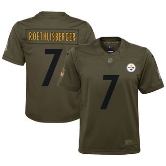 Youth Pittsburgh Steelers Ben Roethlisberger Nike Olive Salute to Service Game Jersey