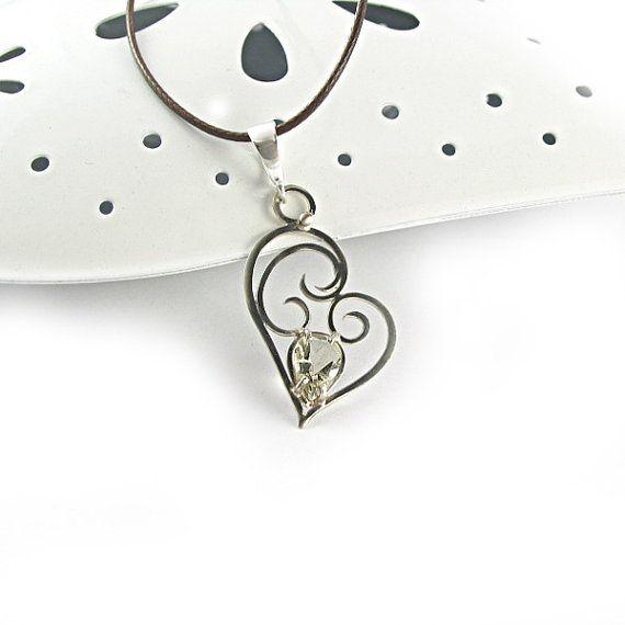 Silver heart pendant with lemon quartz handmade by byPiLLowDesign, $65.00