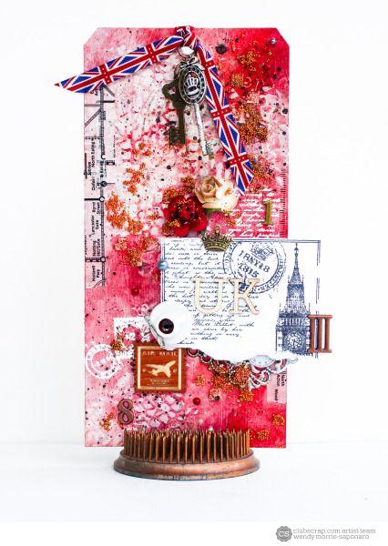 Wendy Morris-Saponaro, London Calling @clubscrapinc #clubscrap #gotmykit #scrapbooking #mixedmedia #stamps #stamping #projectlife #art #papercrafts #londoncalling #londonunderground #london #alteredart #timholtz @tim_holtz