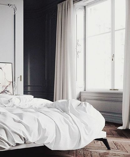 black & white bedroomBedrooms Blackandwhite, Décor Inspiration, Bedrooms White, Home Interiors, Black Walls, Big Windows, Blackandwhite Lights, Black White, Happy Marching