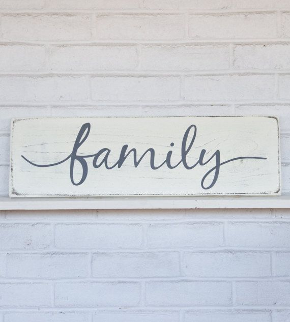 Hand painted wood sign, Family. Inspirational home decor.  *This sign is appx. 24 wide x 7.25 high. *The lettering is hand painted. *The base is a distressed antique white. *The lettering is a charcoal gray. *It includes a sturdy wire hanger already installed on the back. *If youd like to purchase more than one sign from my shop, I will package your signs together, (sizes permitting) and refund you whatever extra you paid on shipping. *Our signs are made for interior decorating. We do not…