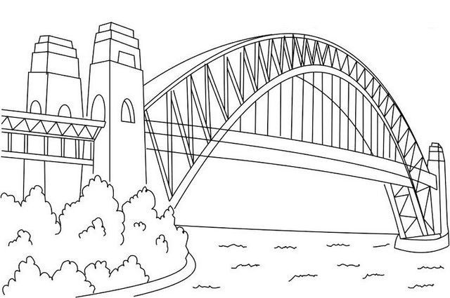 Sydney Harbour Bridge Coloring Page Bridge Drawing Coloring