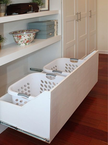 A Basic Sliding Drawer Is Kitted Out With Laundry Baskets