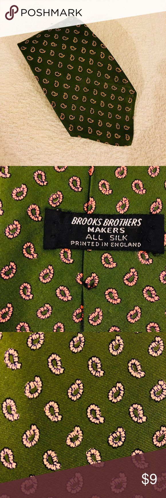Brooks Brothers Green w/ Pink Paisley Check Tie Brooks Brothers Green With Pink and White Paisley Check Silk Necktie! Good condition! Please make reasonable offers and bundle! Ask questions! Brooks Brothers Accessories Ties