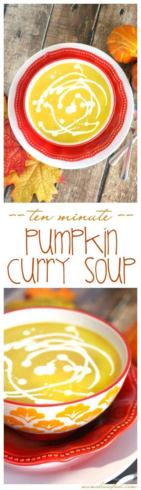 Pumpkin Curry Soup - this soup recipe takes ten minutes from start to finish and is DELICIOUS.  Just dump it all in a pot and stir until heated, doesn't get any easier!!!  YUM