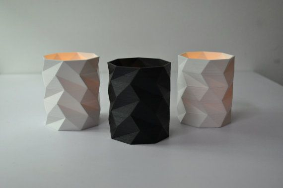 Modern LowPoly Tealight Holder // 3D Printed Candle Holder // Table Decoration // Dining Table Design // Gift under 10