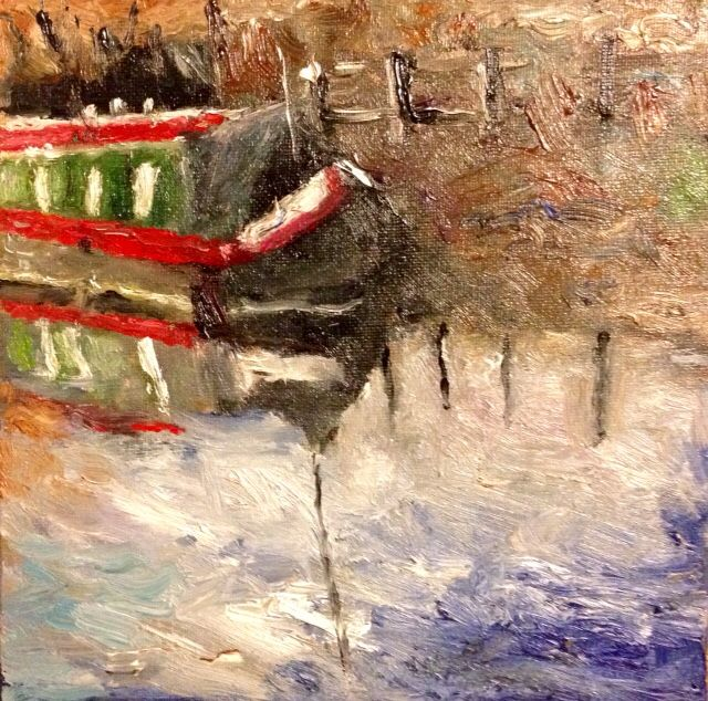 The narrow boat, oil on board, 8'x8'