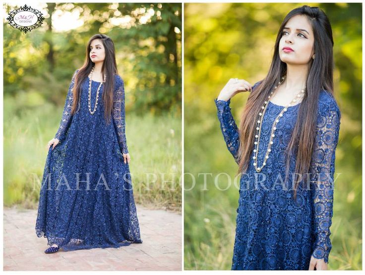 Blue Maxi Net dress by Pakistani Boutiques
