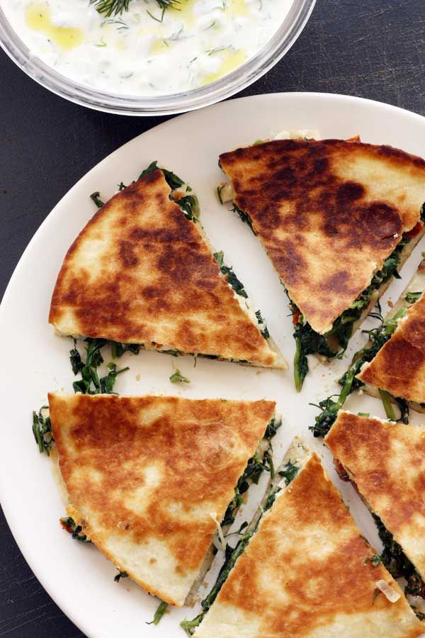 Greek Quesadillas with Tsatziki