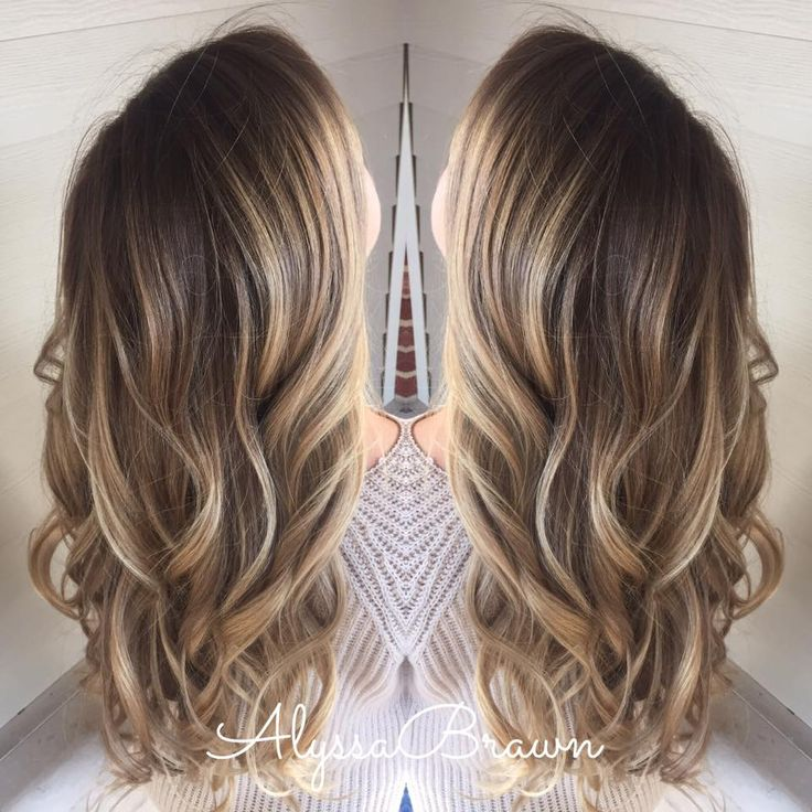 Long Hair Blonde Beachy Wavy Dark Root Ombre