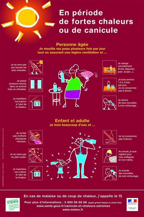 """Infographie: Conseils de la Croix-Rouge canadienne pour combattre la chaleur. Excellent usage des verbes avec """"Je"""" au présent."""