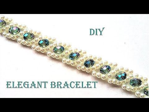 How to make pearls and crystal bracelet. Easy pattern tutorial for a beautiful C…