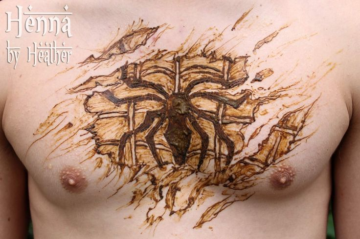 www.HennaByHeather.com  Spiderman Henna Chest Tattoo
