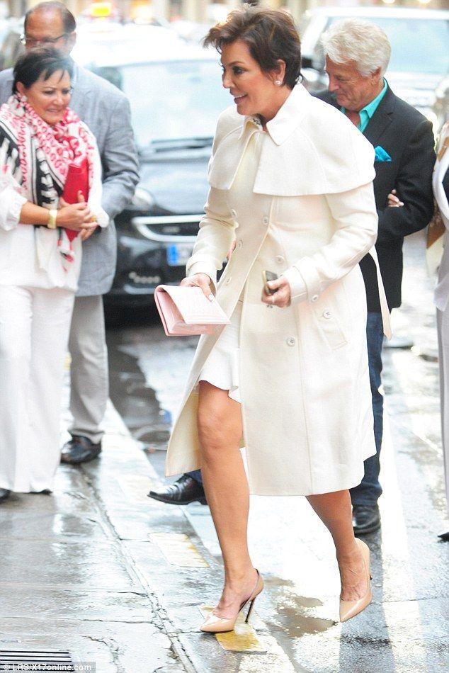 Like mother, like son (in-law): Kim's Kardashian mother Kris Jenner also headed to Lanvin on Thursday