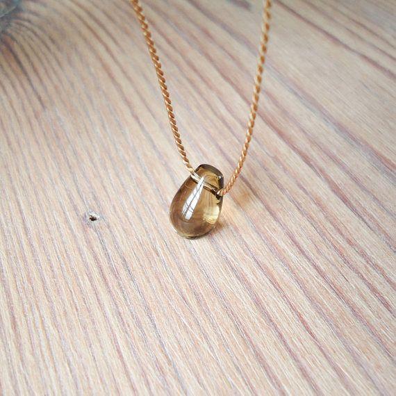 Smoky quartz choker necklace, smooth gemstone choker , November birthstone, silk cord, protective stone, yoga minimal everyday stone jewelry