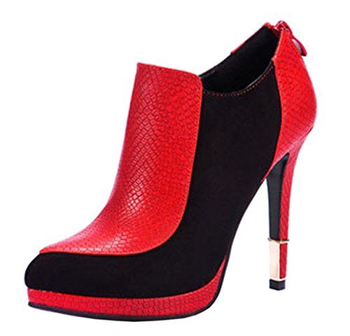 INDEX Zipper For Closure Genuine Leather Platform Thin Heel Lady Shoes(5.5 B(M) US, Red)