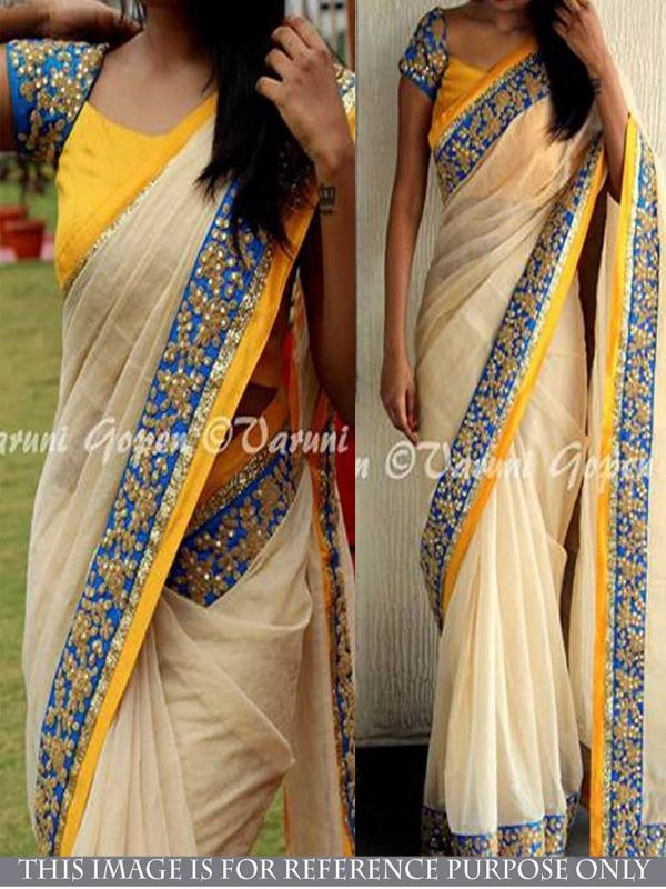 Creepy White Chanderi silk Designer Saree comes with Yellow Color Banglory silk Blouse.It contained the work of Dori & sequence with Lace border.The Blouse which can be customized up to bust size 40