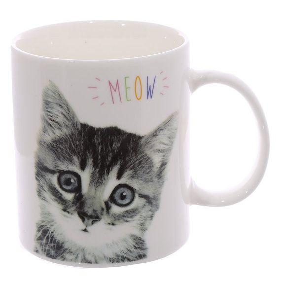 Coffee Mug Fun New Bone China Cup MEOW Cute Kitten by getgiftideas