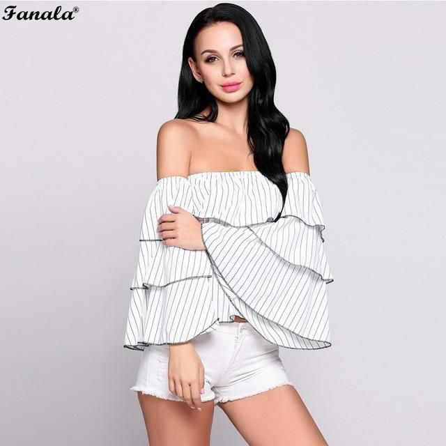 FANALA Women Sexy Blouse Summer White Shirts Stripes Ruffles Tops Slas – Creationsg