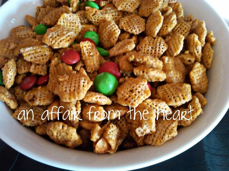 Candy Coated Crispix Snack Mix —- Plus a Fun way to decorate a Pringle Can for your Cookie Exchanges | An Affair from the Heart