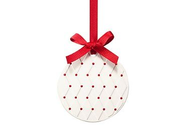 """From Jo Malone, a scented ceramic Christmas ornament: """"A playful token for the tree in refreshing Pine & Eucalyptus. The festive scent of Christmas morning."""""""