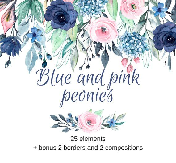 Muted Blue And Floral Red: Watercolor Flowers Clipart, Blue And Pink Floral Clipart