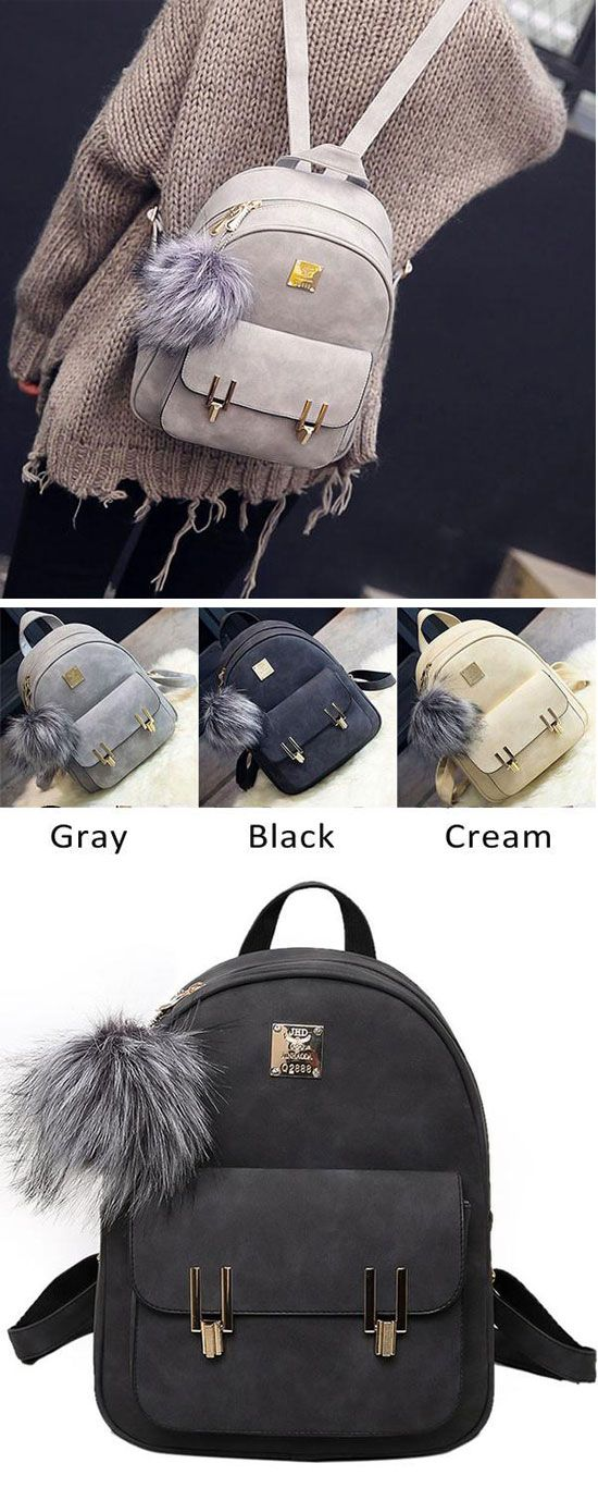 Fashion Frosted PU Zippered School Bag With Metal Lock Match Backpack for big sale! #metal #Lock #Match #school #backpack #cute