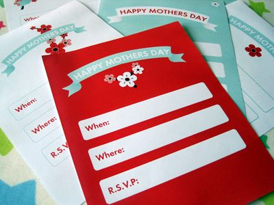 """Happy Mother's Day Printables - invitations, party circles, favor tags, tented cards, napkin rings, drink flags, party labels, water bottle labels, and a """"Happy Mother's Day"""" banner."""