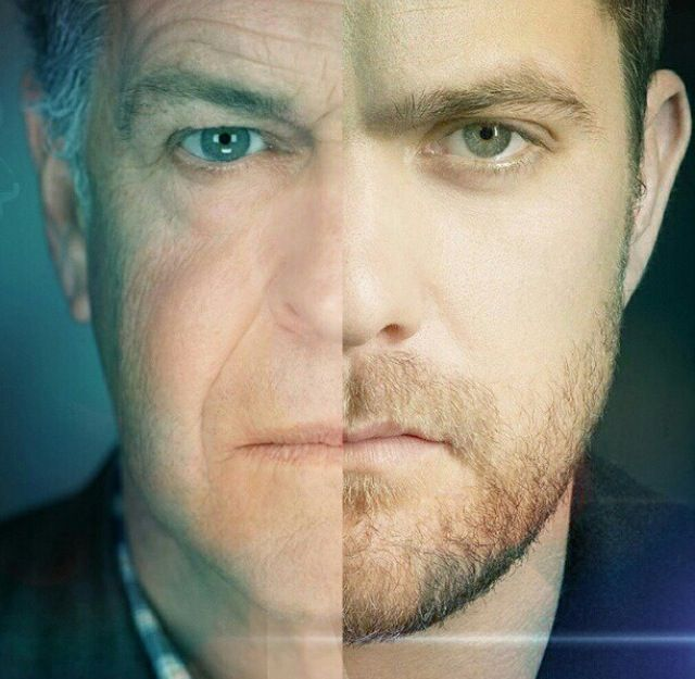 Father and Son - Fringe, Walther Bishop (John Noble), Peter Bishop (Joshua Jackson), great tv, powerful portrait, in half, photo