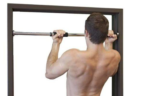 The JFit Deluxe removable pull-up bar allows you to securely affix a pull-up bar to your door frame without any damaging screws. The JFit is the widest door frame pull-up bar available, fitting in door ways as wide as 40 inches and affixing securely through the use of rubber cups.