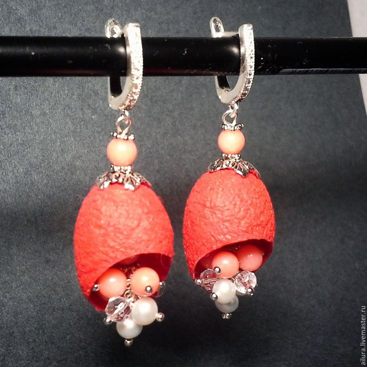 Купить Длинные серьги с натуральными камнями (Красные) - ярко-красные серьги