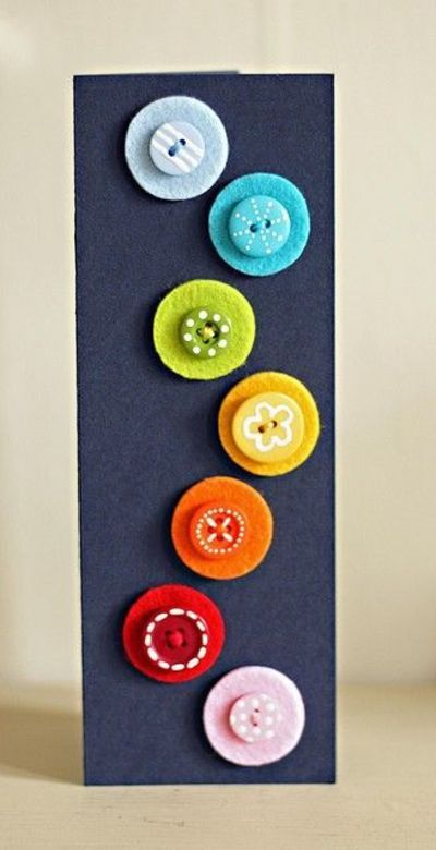 .Buttons on Felt ...greeting card, display fav buttons, sew on purse or sweater arm...lots of possibilities - I just love the addition of the polka dots on the buttons, at least you can add dots to colorful buttons! How easy is this? Add to pin backs and you can add these onto anything!