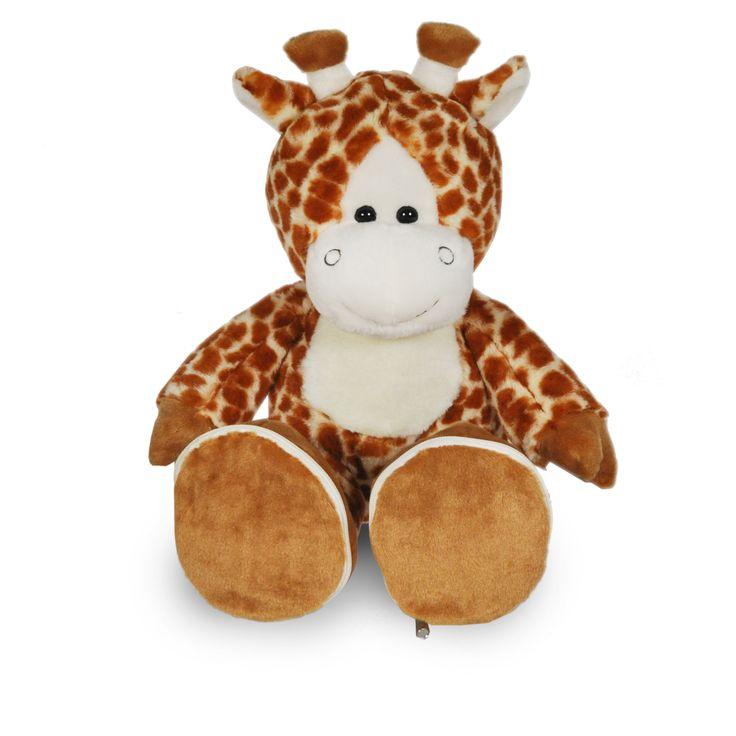 Giraf met afritsbare voetjes, zodat er een naam en geboorte datum erop geborduurd kunnen worden
