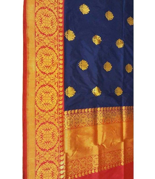 Blue Banarasi Handloom Silk Saree