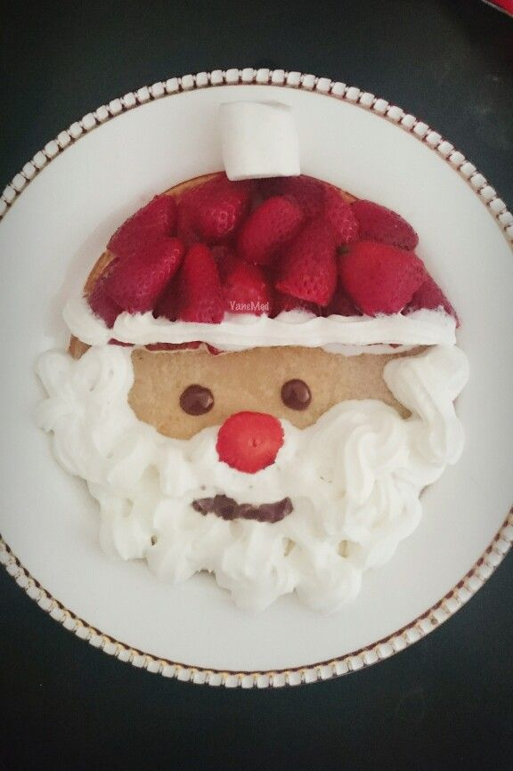 #papá #noel para mi #amorsi #pancake #fresas #cremachantilly #masmelo #chocolate #navidad #strawberry #christmas #diy