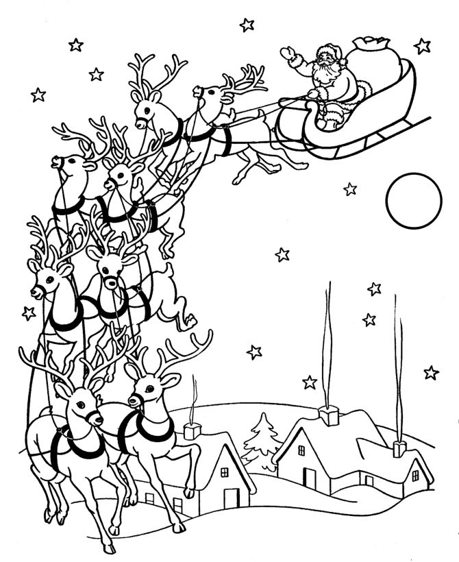 Beautiful vintage look coloring page of Santa and Reindeer