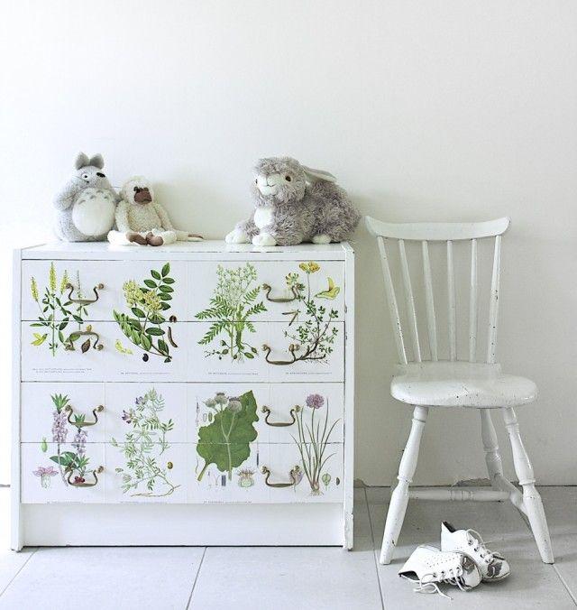 DIY tapetsera byrå med blomster - DIY Mormorsglamour