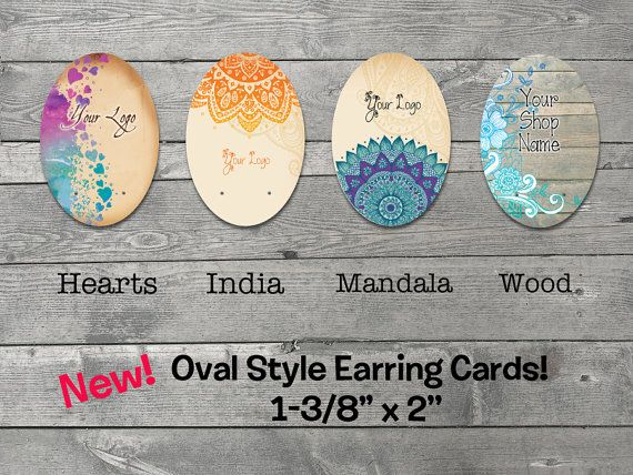 25 Custom Earring Cards with Holes   Jewelry by SillyBirdGraphics