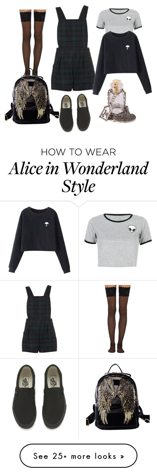 """""""School"""" by claudia-glorioso on Polyvore featuring WithChic, Vans, Disney Couture, Wolford and Chicnova Fashion"""