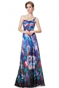 One Shoulder Cross Bust Lily Print Dress - Dark Blue and Purple