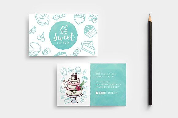 Cake Shop Business Card Template Business Cards Creative Templates Cake Business Cards Business Cards Layout
