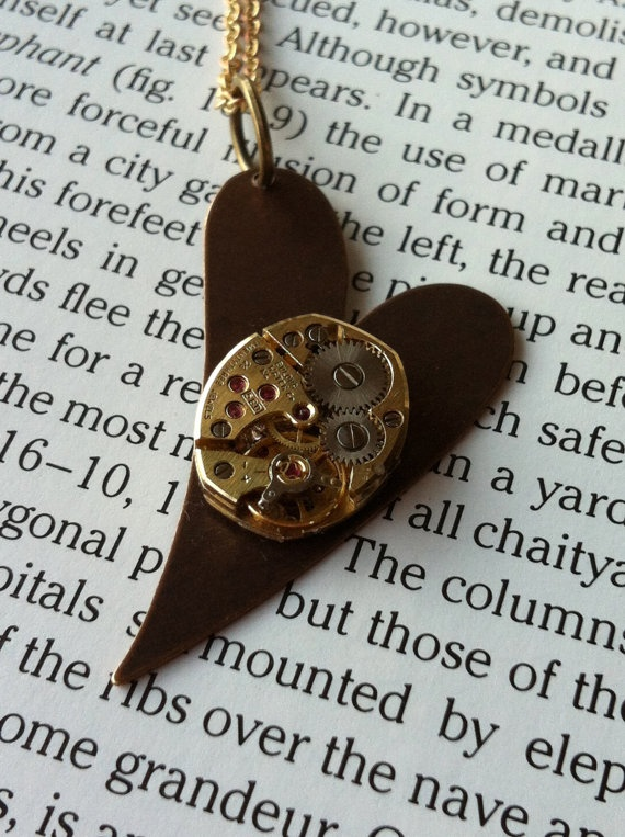 SteamPunk Heart Necklace with a 23 Jewels by fuegodelcorazon, $35.00