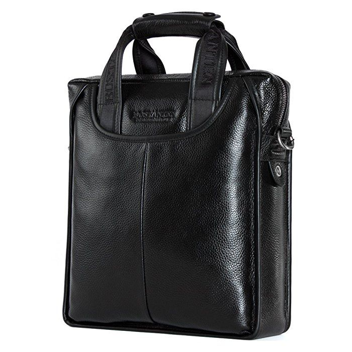 BOSTANTEN Leather Handbag Briefcase Messenger Business Work Bags for Men Black Small