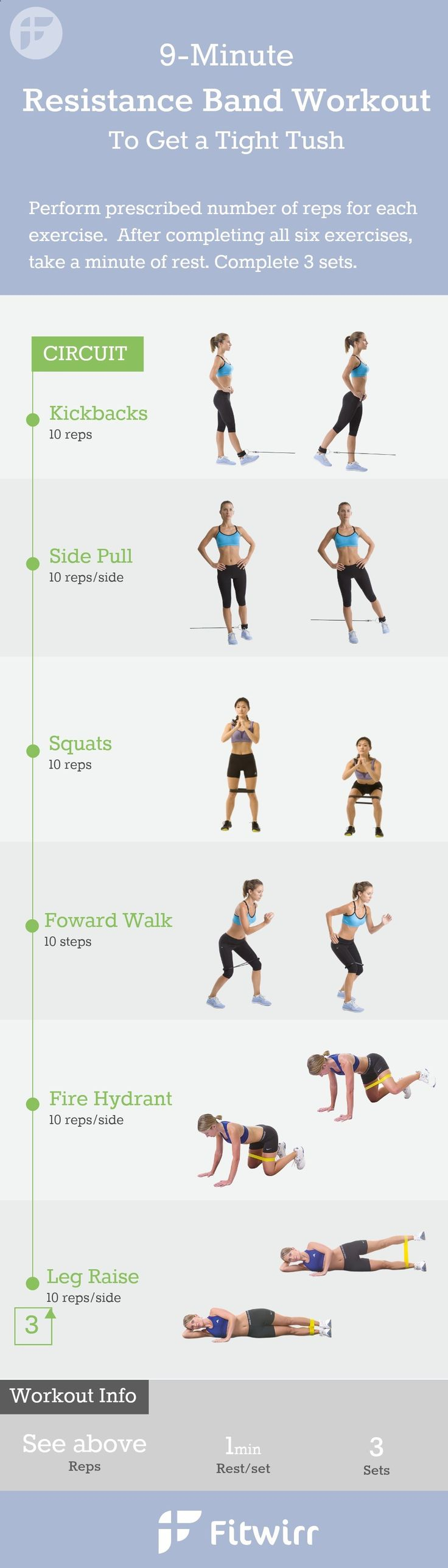 9-Minute Resistance Band Exercises for women. You dont have to lift heavy dumbbells or a medicine ball to get a great workout at home. Follow this 9 minute exercise band workouts to firm your butt, legs and inner thighs.