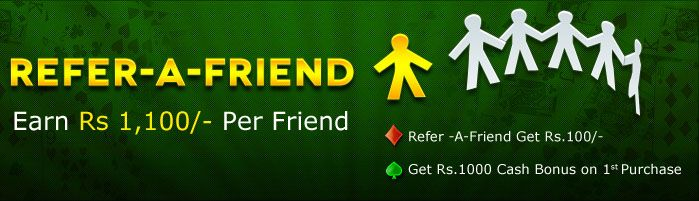 Rummy Referral program lets you earn free cash to play rummy online games at Classic Rummy by inviting friends to play rummy. Refer a friend and win free cash at https://www.classicrummy.com/online-rummy-promotions/rummy-refer-a-friend?link_name=CR-12